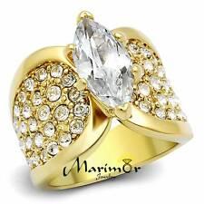 4.34CT Marquesita Circonita Acero Inoxidable Chapado en Oro Anillo de Compromiso