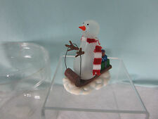 Nantucket Glass Snowman Figure Resin Sled Red and White Cloth Scarf Clear Bx New