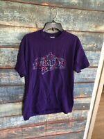 Vintage 90s Universal Studios Florida Graphic Purple T-Shirt Adult Sz L RARE