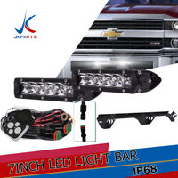 "Double 7"" LED Light Bar+Bumper Mount Bracket For 15+ Chevy Silverado 2500 3500HD"