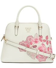 DKNY Whitney White Satchel Vanilla Leather Floral Dome Handbag