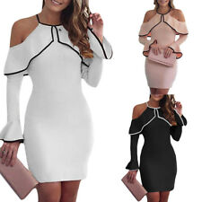 Women Bandage Bodycon Long Sleeve Evening Party Cocktail Club Short Mini Dress#Y