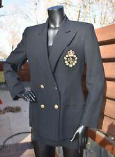 RALPH LAUREN black Wool Logo Crest Insignia double Breasted Jacket Blazer 8 P