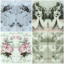 4x Single Luxury Tissue for Decoupage and Craft Angel Mix handkerchiefs