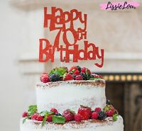 LissieLou Happy 70th Birthday Cake Topper Glitter Card Made in the UK
