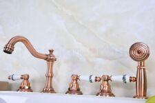 Antique Red Copper 3 Handles Roman Tub Faucet 5 Holes Deck Mount Bath Tap ftf225