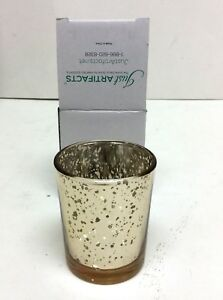 """Set of 25 Gold Speck 2.75"""" H Mercury Glass Votive Candle Holders Wedding Party"""