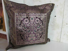 """Authentic Made in India 15"""" Silk Pillow Embroidered Front with Purple Back"""