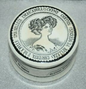 1910-1972 Sacavém Ceramic Chrysis Cream Pot Box Patronized Lady