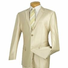VINCI Men's Beige Sharkskin 2 Button Slim Fit Suit w/ Contrast Trim NEW