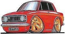 Lotus Cortina Red twin cam group 2 cartoon car t-shirt available in sizes S-3XL