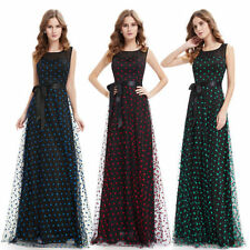 Full-Length Polka Dot Regular Size Dresses for Women