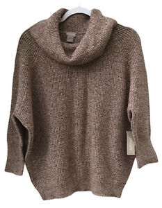 Chico's Women's NWT Sz 1 Beige Ivory Cowl Neck Knit Pullover Wedge Sweater Cozy