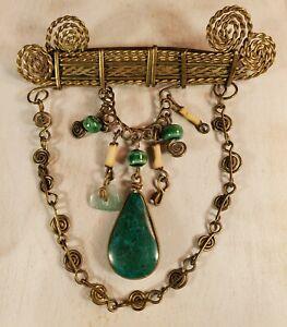 Artisan Artist Made Brooch Pin Brass Gold Tone Emerald & Jade Green Stones