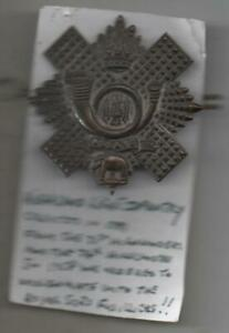 VICTORIAN Highland Light Infantry Cap Badge  2 Lugs ANTIQUE Original
