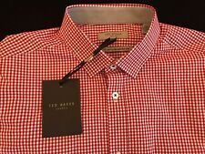 BNWT TED BAKER Red Check Formal Long Sleeve Cotton Shirt Size 15.75cm Ted Size 3