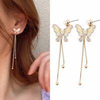 Luxury Long Tassel Crystal Earrings Women Butterfly Drop Dangle Ear Stud Gifts