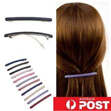 2pc/ Matte Slim Round Barrette Medium Hairclip 6cm Hair Pin Clasp Clip Colour AU