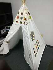 Holiday Gift 6ft Cotton Canvas Deluxe Teepee Playhouse Play Tent OWL DESIGN