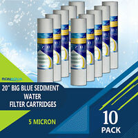 "Big Blue Sediment Replacement Water Filters 5 Micron 4.5"" x 20"" Set of 10"