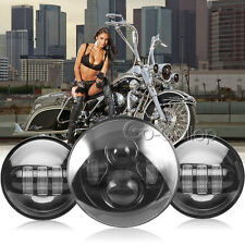"7"" LED Round Projector Headlight +4.5"" Passing Light Fit Harley Electra Glide"