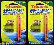 12pc 10A, 15A, 20A, 25A, & 30AMP AUTO CAR GLASS FUSES KIT WITH FUSE PULLER