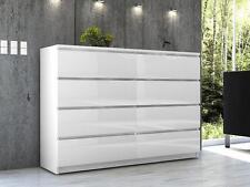 Hochglanz Kommode Sideboard Anrichte Schrank  8 Schubladen 140 cm Weiß Hochglanz
