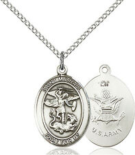 925 Sterling Silver St Michael Army Military Soldier Catholic Medal Necklace