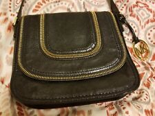 Michael Kors Satchel black gold Zipper Medallion pockets travel EXCELLENT CONDIT