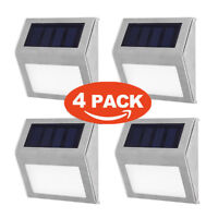 4x 3 LED Led Solar Powered Wall Mount Night Light Yard Pathway Stair Garden Lamp