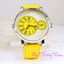 Designer Silver Yellow Leather Dual Time 2 Twin Zone Double Dial XL Sunray Watch