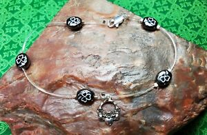 IRISH Shamrock CLADDAGH Claddaugh  Illusion ANKLET Silver plate hematite-look