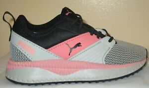 GIRL'S PUMA PACER NEXT FFWD AC PS BLACK-GREY-SALMON ROSE  SHOES ZISE 11