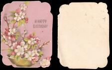 1947 VINTAGE IKEBANA STYLE FLOWER ARRANGEMENT HAPPY BIRTHDAY FOLDING CARD - USED