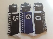 3 PAIRS MENS SNEAKER NOVELTY SOCKS * LIKE AN OLD FASHIONED SNEAKER *BLK/BLUE