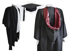 Soltero Graduación Vestido,Sombrero Y Burgon Capucha Juego University Estriado