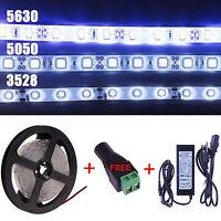Lot 3528 5050 5630 Waterproof 5M 300SMD White LED Flexible Strip Light + Adapter
