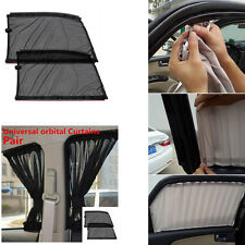 2 Pcs Black Car Window Curtains Sun Shade for Side Window Interior Tracks Summer