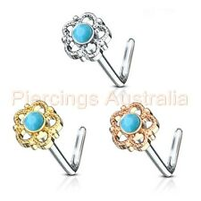 20G Turquoise Semi Precious Stone Filigree Flower L Bend Nose Stud Bar Ring
