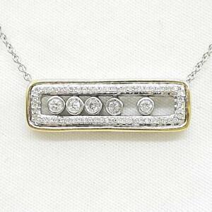 Genuine .42ctw H-SI Diamond Solid 10K Yellow Gold & 925 Silver Sliding Pendant