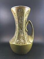 Vintage McCoy USA 619 Pottery Handle Vase Daisy Flower Embossed Olive Green