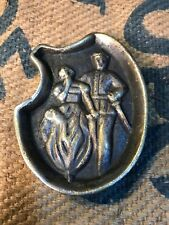 Antique Solid Brass WWI Period Soldier & His Girl Risque Two Sided Plaque