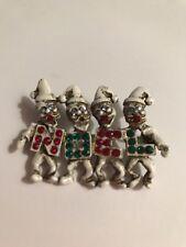 Vintage Dodds Christmas Brooch Dancing Elves Rhinestones