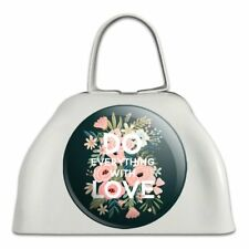 Do Everything With Love White Metal Cowbell Cow Bell Instrument