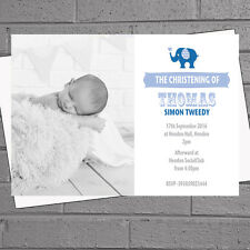 Personalised Boys Christening Invitations Blue Elephant  x 12 H0311