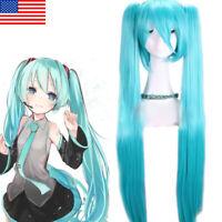 Hatsune Miku Cosplay Wig Woman Long Straight Blue Hair+ Ponytails