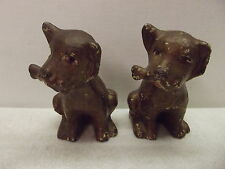 Antique Pair Solid Cast Iron Dog W/Bone Bookends Door Stop Paperweight