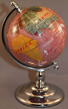 Multi-Gemstone 90mm Desktop Globe in Light Purple Pearl - Chrome Base Free S&H