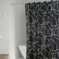 Black Geometric Shower Curtains Polyester Bath Curtains Waterproof Hooks Modern