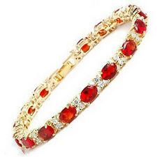 Fashion Red Cubic Zirconia Ruby 18KGP Crystal Link Clasp Women Bangle Bracelet
